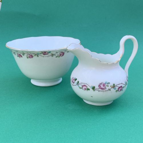 Antique | Bone China | Rosebud Garland | Milk Jug Creamer and  Open Sugar | 1900s